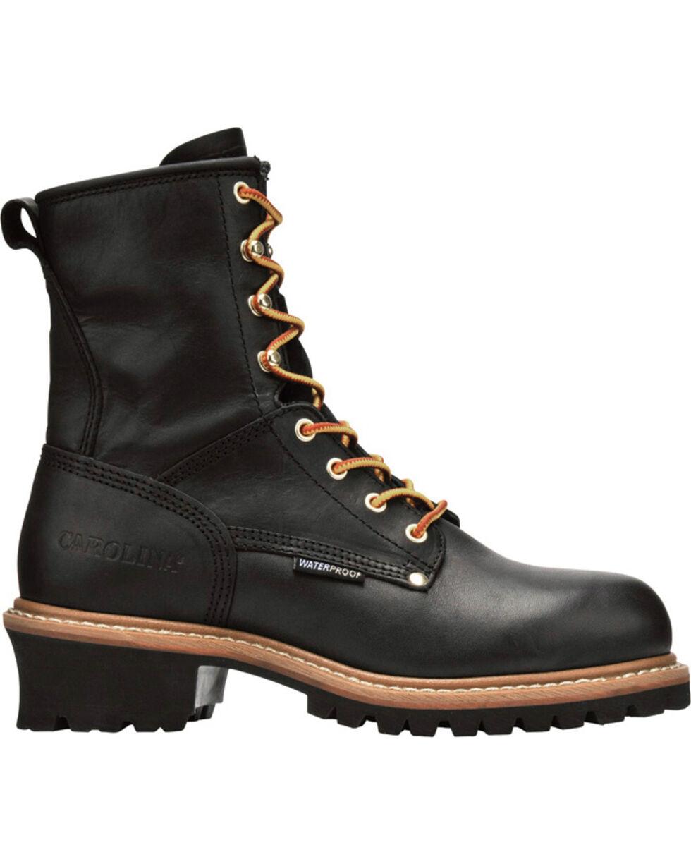 "Carolina Men's Logger 8"" Elm Waterproof Work Boots - Steel Toe, Black, hi-res"