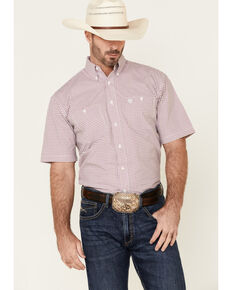 George Strait By Wrangler Men's Fuchsia Small Plaid Short Sleeve Button-Down Western Shirt , Pink, hi-res