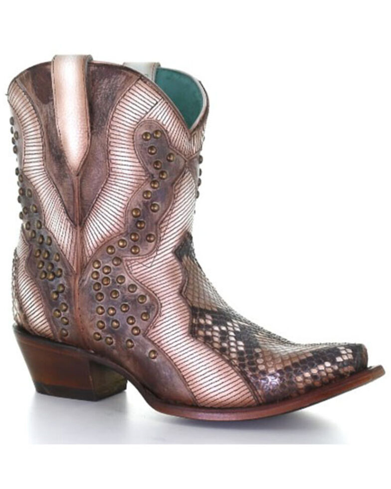 Corral Women's Python Embroidery Fashion Booties - Snip Toe, Brown, hi-res