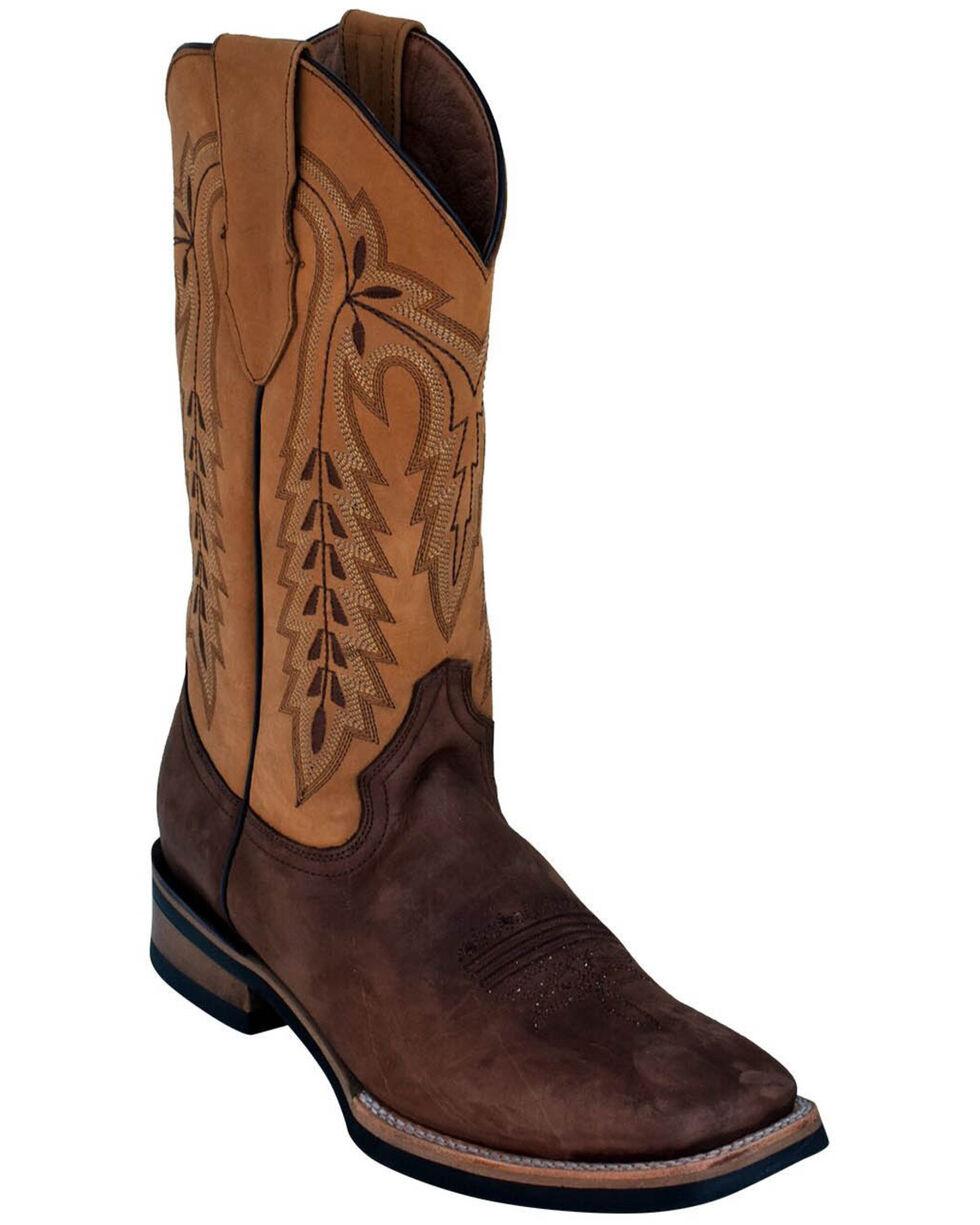 Ferrini Men's Antique Cowhide Western Boots - Square Toe, Chocolate, hi-res