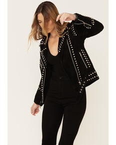 Understated Leather Women's Black Dome Studded Moto Suede Jacket , Black, hi-res