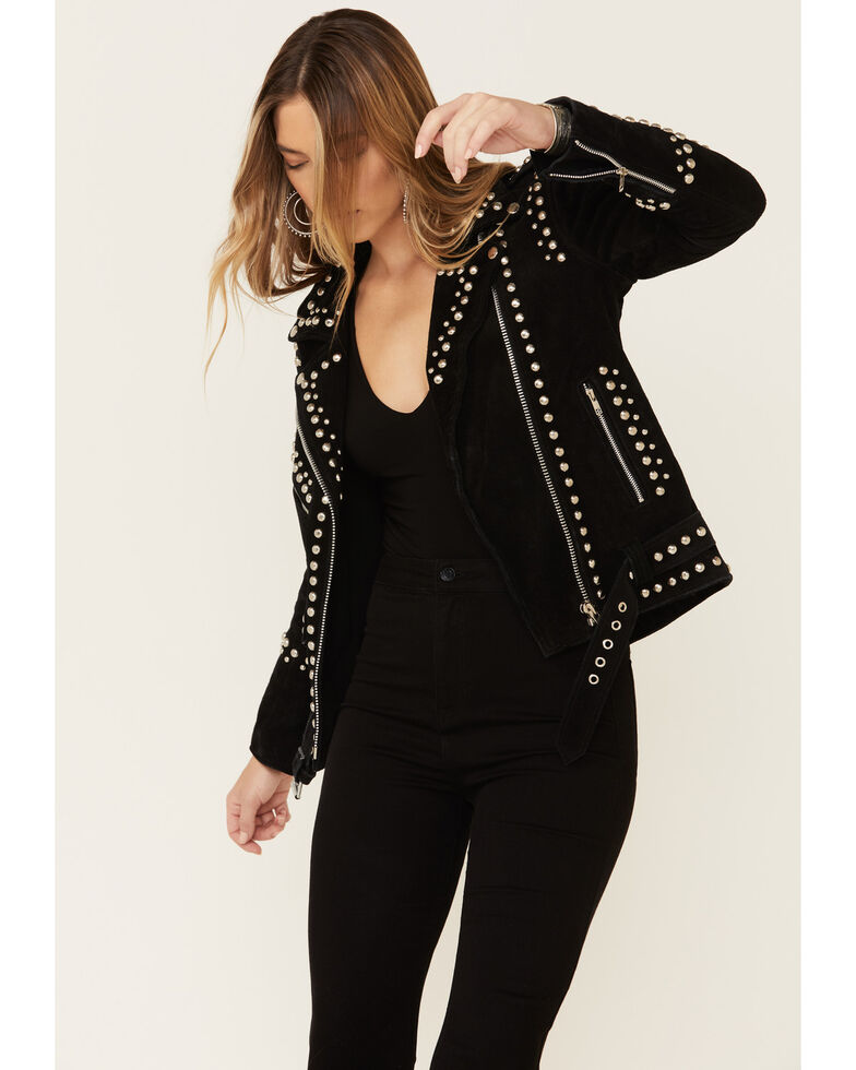 Understated Leather Women's Black Dome Studded Moto Suede Jacket , Black, hi-res