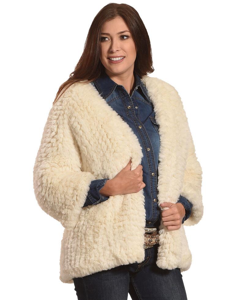 Tractr Women's Faux Fur Cardigan, Cream, hi-res