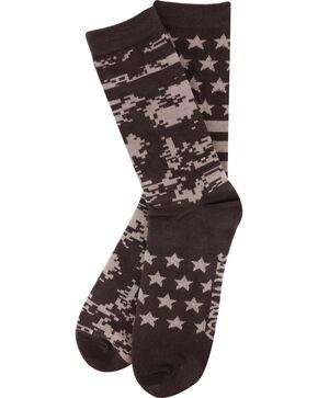Cody James Men's Stars and Camo Crew Socks, Brown, hi-res