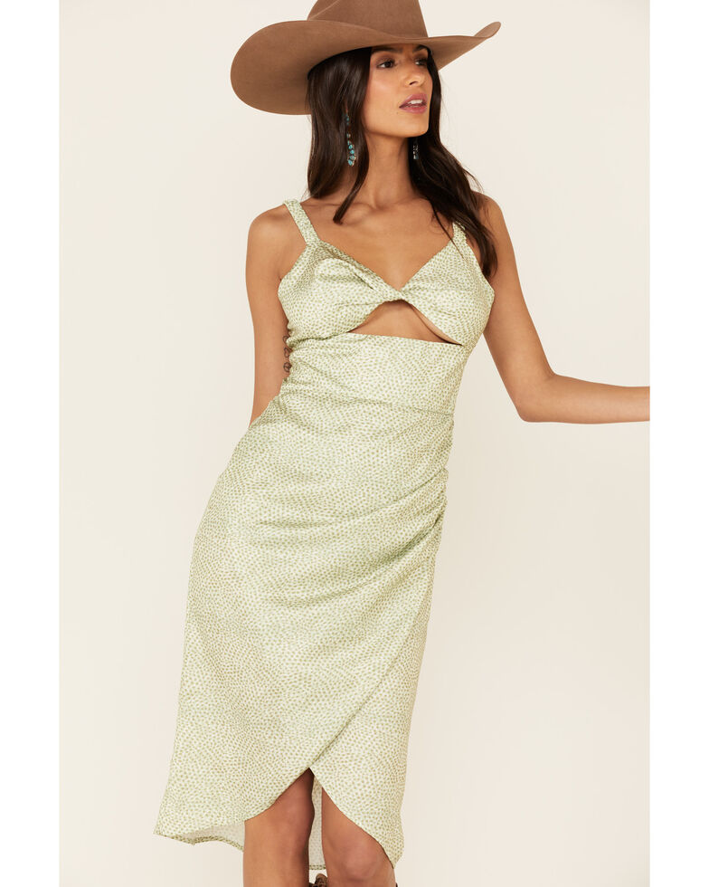 Sadie & Sage Women's Amy Dot Midi Dress, Sage, hi-res