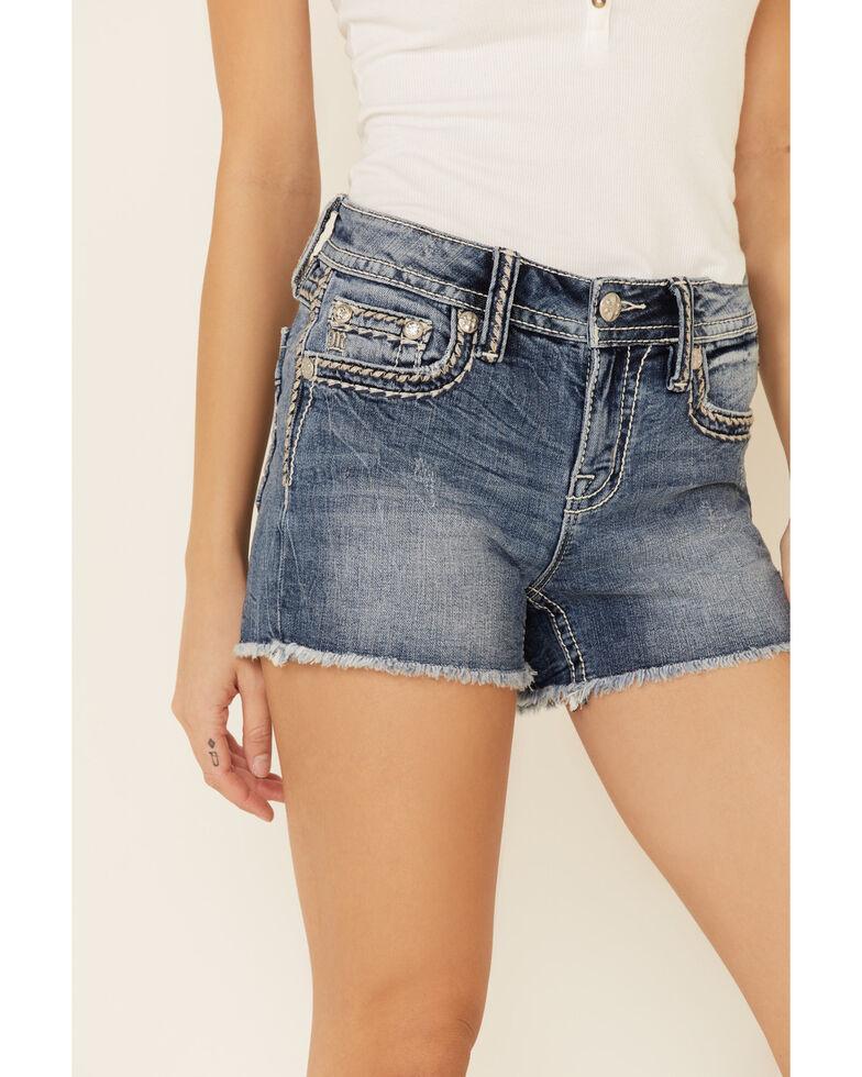 Miss Me Women's Big Border Stitch Shorts, Blue, hi-res