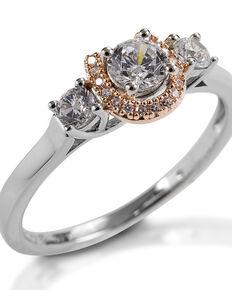 Kelly Herd Women's Small Three Stone Rose 14K Gold Horseshoe Ring, Silver, hi-res