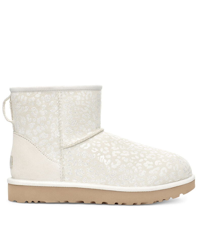 UGG Women's Snow Leopard Classic Mini II Boots, White, hi-res