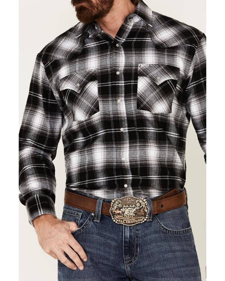 Ely Walker Men's Brawny Flannel Long Sleeve Western Shirt - Tall , Black, hi-res