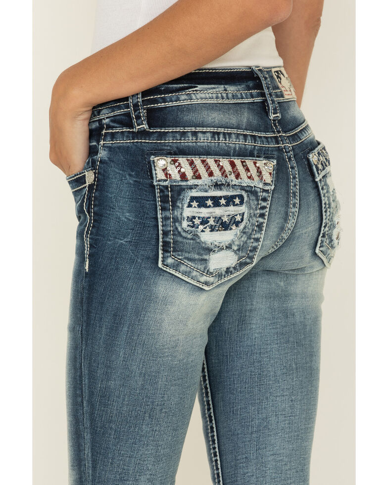 "Miss Me Women's Medium Americana 34"" Bootcut Jeans , Blue, hi-res"
