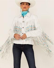 Circle S Women's Beaded & Fringe Leather Jacket, White, hi-res