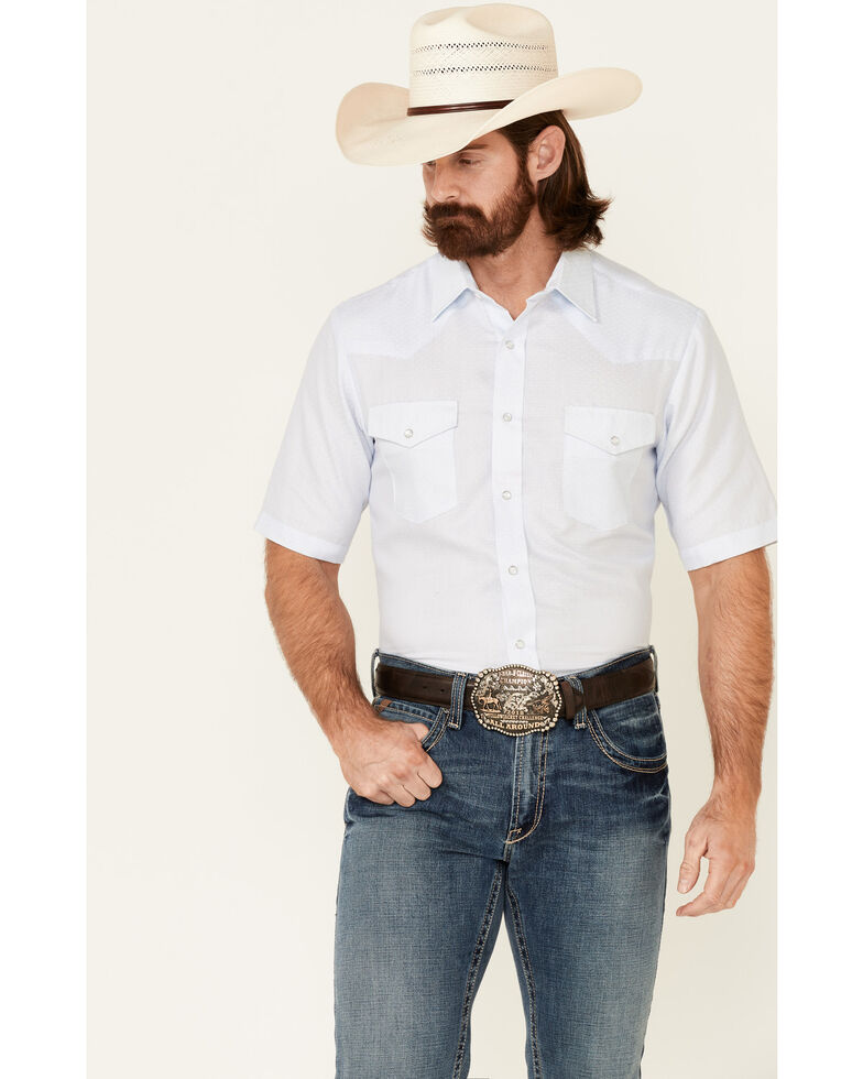 Roper Men's Solid Blue Tone On Tone Short Sleeve Snap Western Shirt , Blue, hi-res