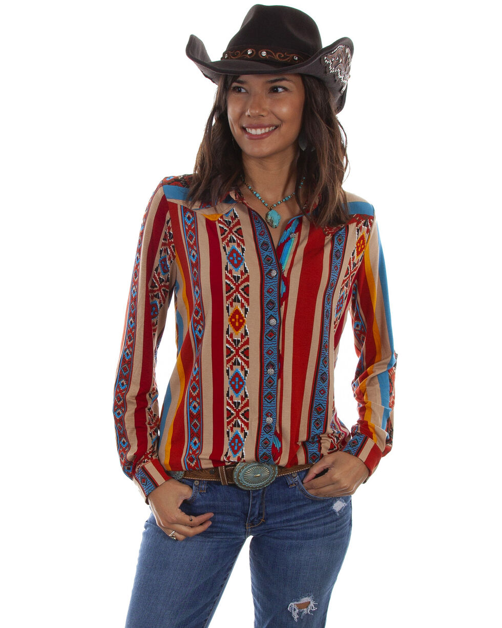 Honey Creek by Scully Women's Serape Long Sleeve Western Top, Multi, hi-res