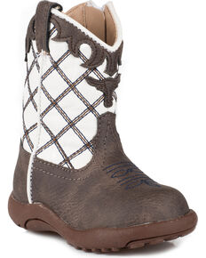 Roper Infant Boys' Cowbaby Steerhead Pre-Walker Cowboy Boots - Round Toe, Brown, hi-res