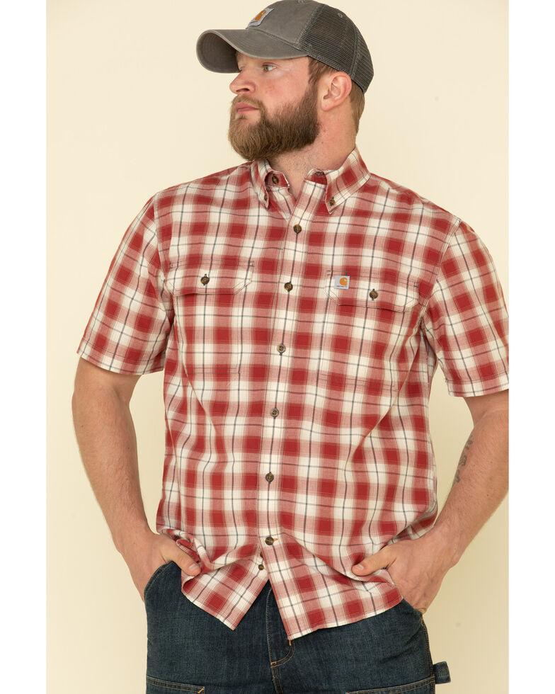 Carhartt Men's Dark Red Plaid Original Fit Midweight Short Sleeve Work Shirt , Dark Red, hi-res