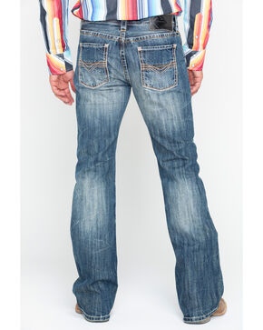 Rock & Roll Cowboy Mens' Triple Bean Stitch Reflex Pistol Boot Jeans , Blue, hi-res