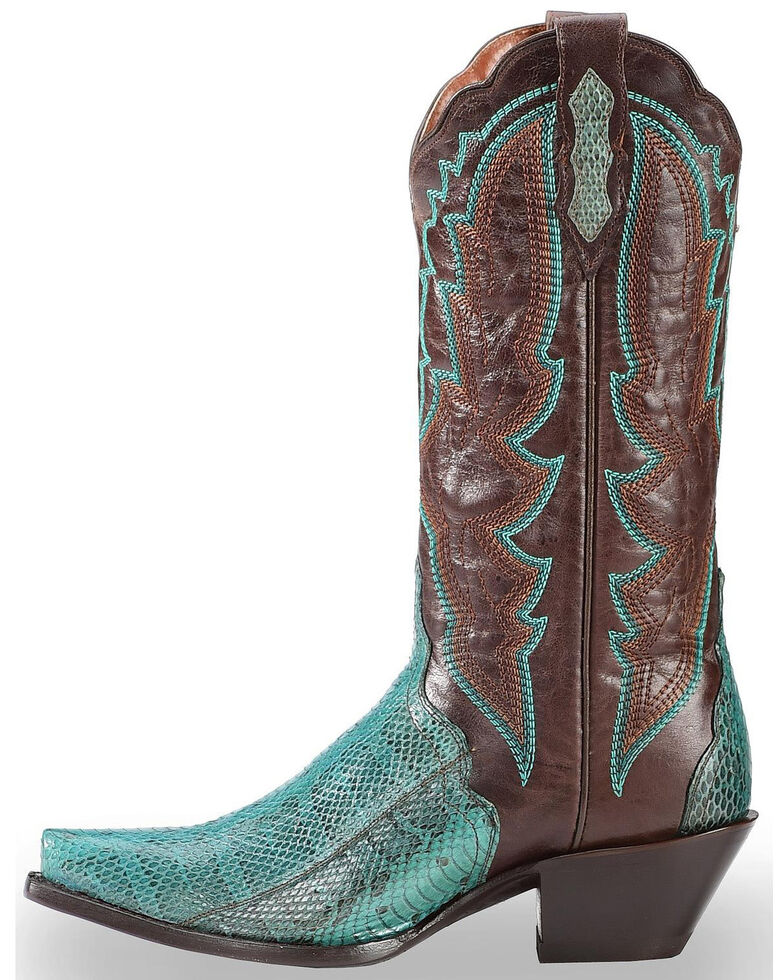 Dan Post Women's Turquoise Water Snake Triad Cowgirl Boots - Snip Toe , Turquoise, hi-res