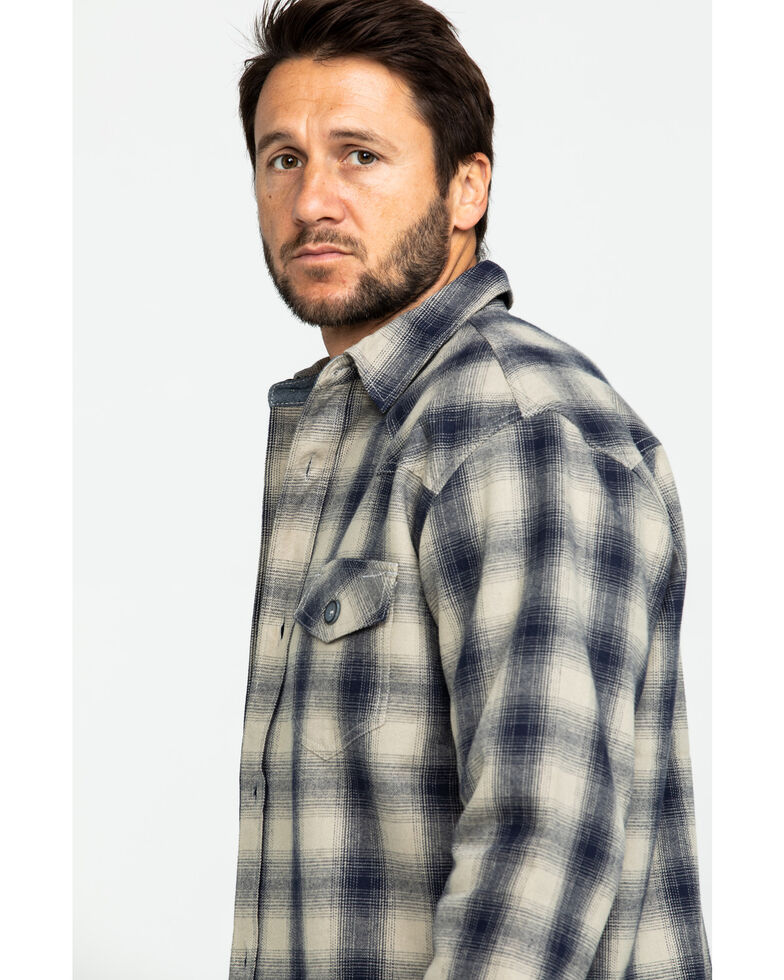 Cody James Men's Gig Harbor Plaid Long Sleeve Western Flannel Shirt , Tan, hi-res