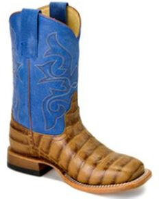 HorsePower Boys' Royal Sinsation Western Boots - Wide Square Toe, Tan, hi-res