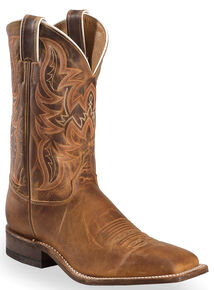 Justin Bent Rail Distressed Cognac Cowboy Boots - Square Toe, Brown, hi-res