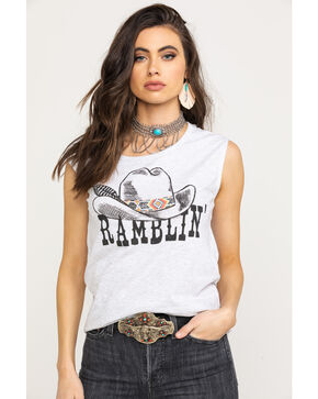 Rock & Roll Cowgirl Women's Ramblin' Graphic Muscle Tank Top, Heather Grey, hi-res