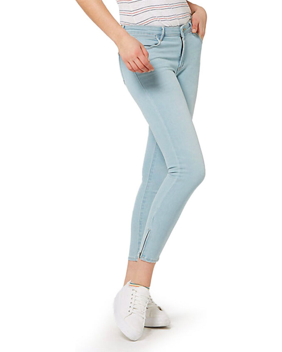 Wrangler Women's 70th Anniversary Zip-Crop Skinny Jeans, Blue, hi-res