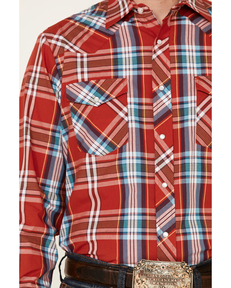 Roper Men's Warm Red Large Plaid Long Sleeve Snap Western Shirt , Red, hi-res