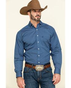 Tuf Cooper Men's Navy Stretch Geo Print Long Sleeve Western Shirt , Blue, hi-res