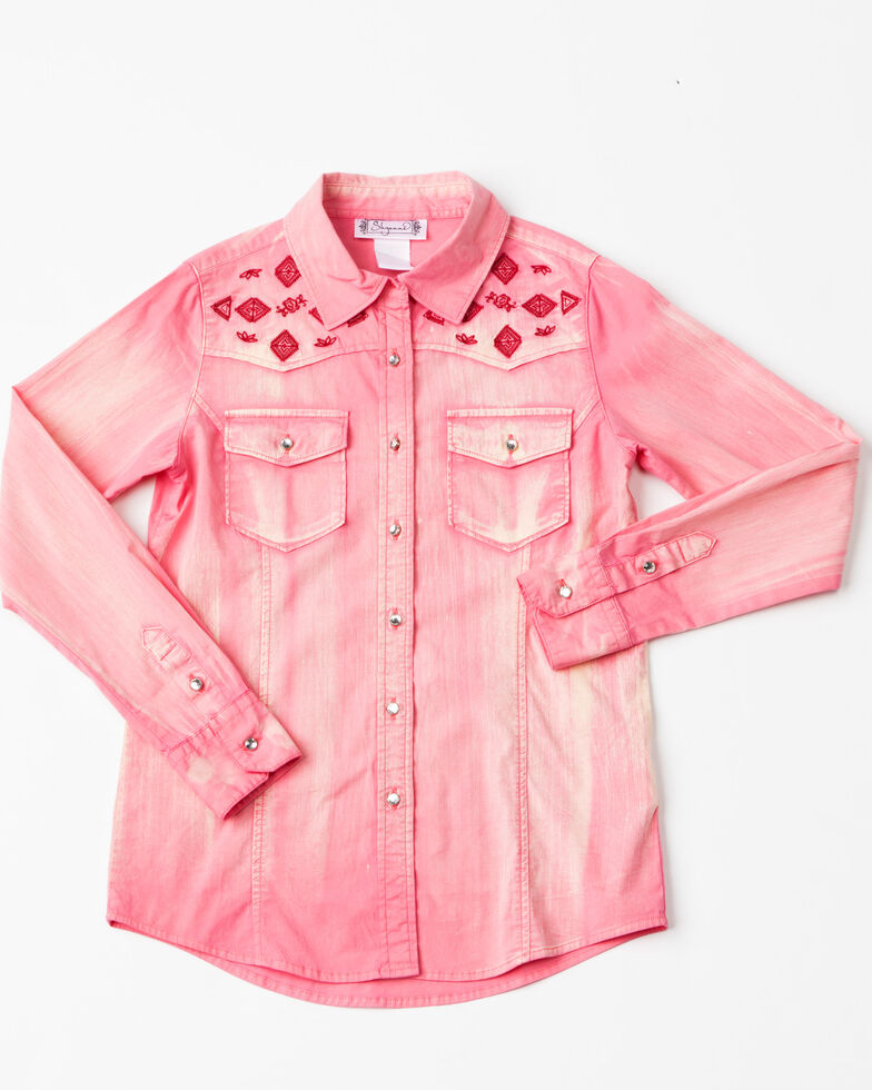 Shyanne Girls' Solid Aztec Embroidered Long Sleeve Western Shirt  , Coral, hi-res