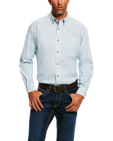 Ariat Men's Marloes Stretch Performance Small Plaid Long Sleeve Western Shirt - Big & Tall, White, hi-res