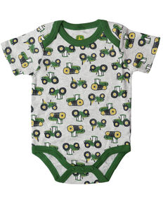 John Deere Infant Boys' Ash Tractor Collared Coverall, Ash, hi-res