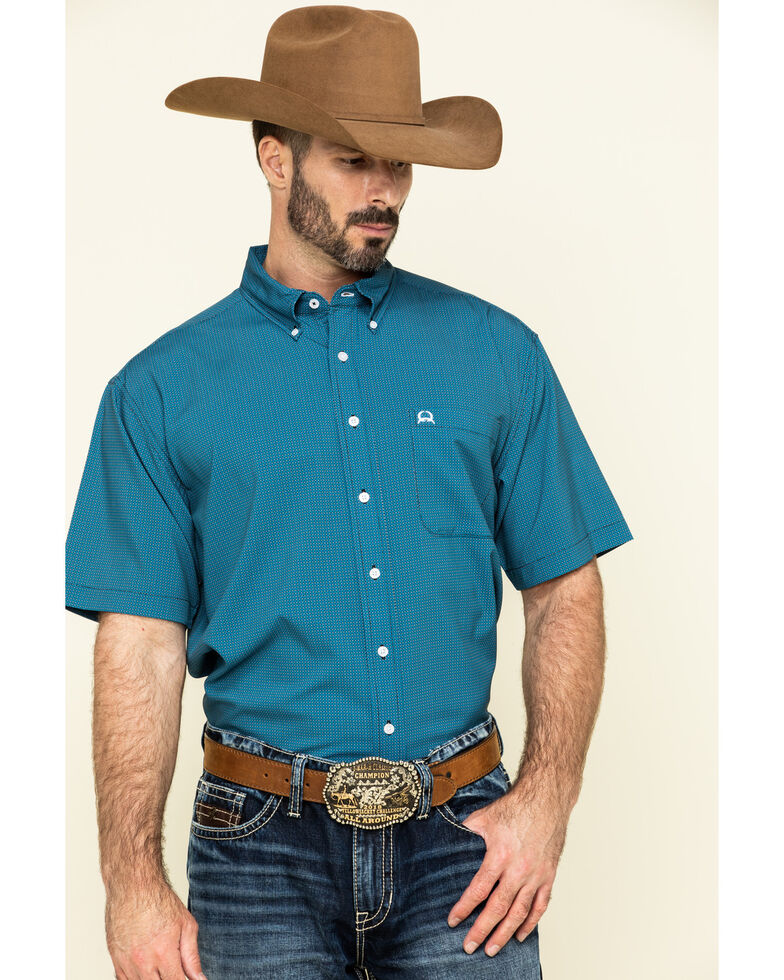 Cinch Men's Arena Flex Blue Small Geo Print Short Sleeve Western Shirt , Blue, hi-res