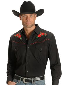 Ely Walker Men's Solid Embroidered Rose Long Sleeve Western Shirt, Black, hi-res