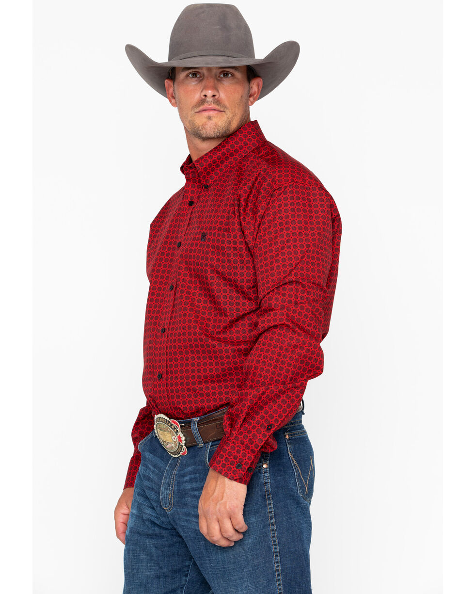 Cinch Men's Red Print Long Sleeve Button Down Shirt, Red, hi-res