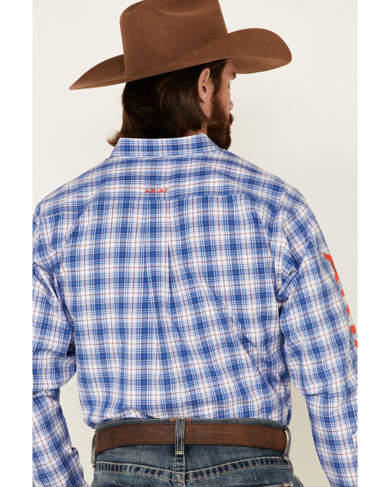 Ariat Men's Blain Team Med Plaid Long Sleeve Button-Down Western Shirt - Big, Blue, hi-res