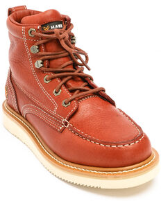 Hawx® Men's Grade Moc Wedge Work Boots - Moc Toe, Red, hi-res