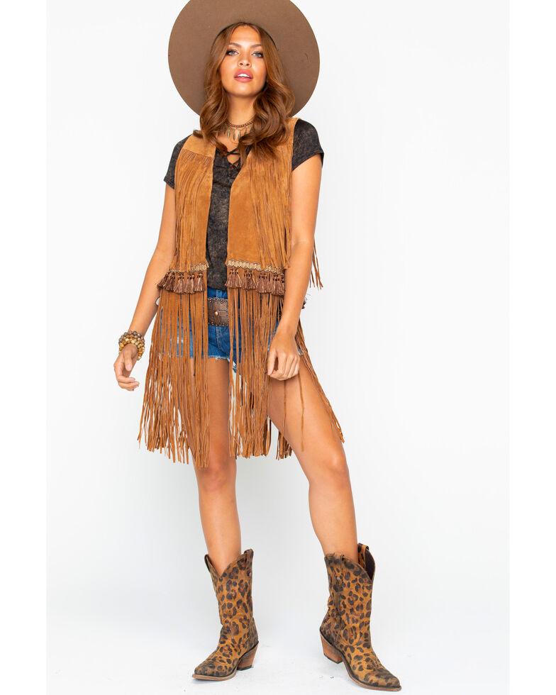 Cripple Creek Women's Solid Open Front Fringe Leather Vest , Cognac, hi-res