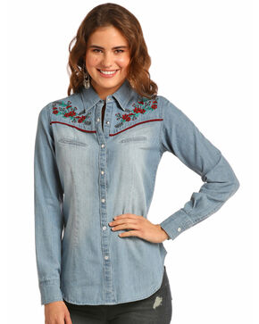 Rock & Roll Cowgirl Women's Floral Embroidered Denim Shirt, Indigo, hi-res