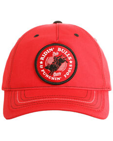 Dale Brisby Men's Ridin' Bulls Punchin' Fools Patch Cap, Red, hi-res