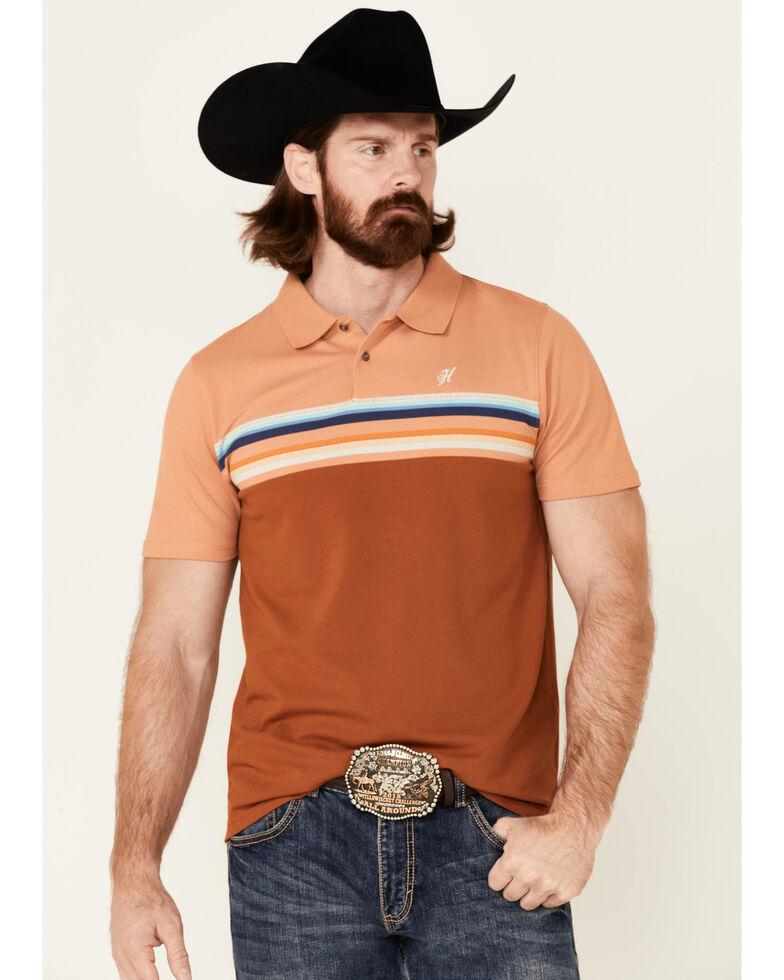 HOOey Men's Orange Chest Stripe Maverick Short Sleeve Polo Shirt  , Orange, hi-res