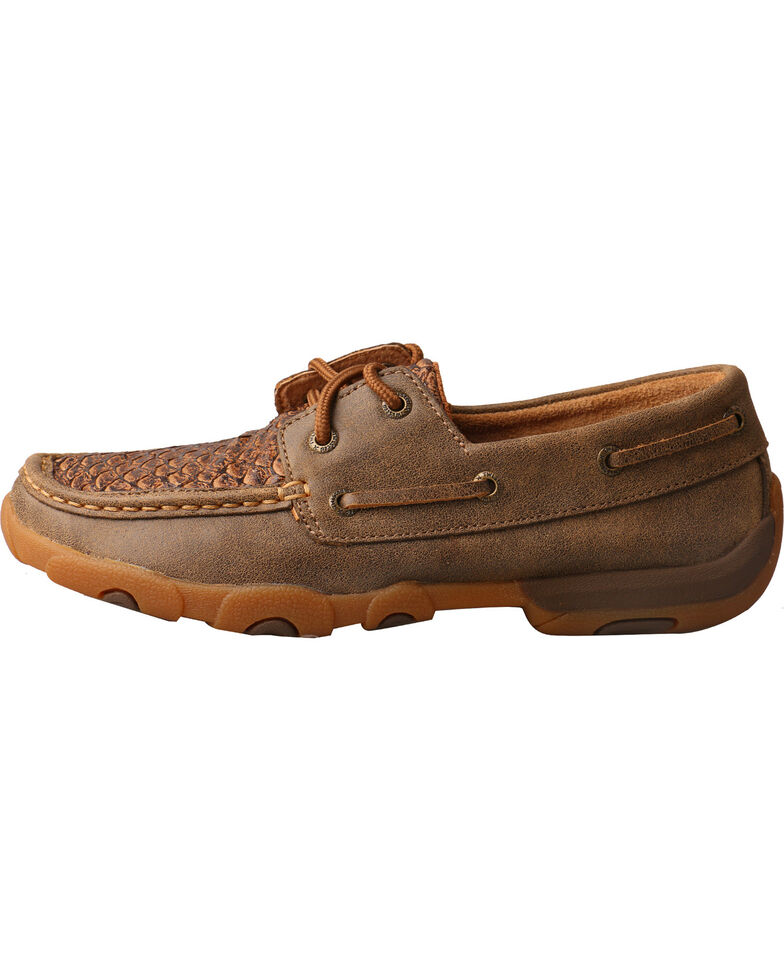 Twisted X Women's Brown Fish Scale Driving Mocs - Moc Toe, Multi, hi-res