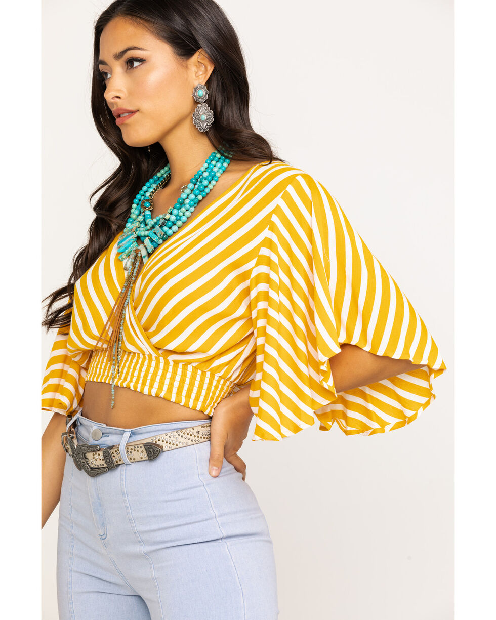 Angie Women's Mustard Stripe Crop Top , Dark Yellow, hi-res
