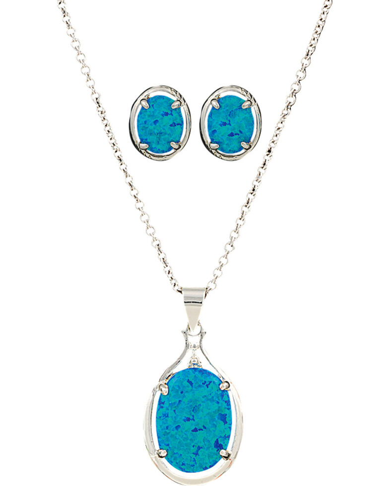 Montana Silversmiths Women's Mountain Lake Jewelry Set , Silver, hi-res