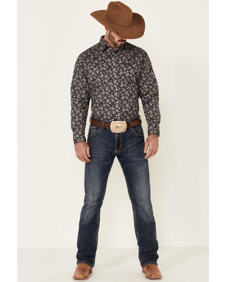 West Made Men's Grey Dapple Paisley Print Long Sleeve Snap Western Shirt , Black, hi-res