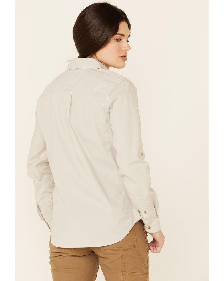 Carhartt Women's Malt Rugged Flex Bozeman Long Sleeve Button Work Shirt  , Light Yellow, hi-res