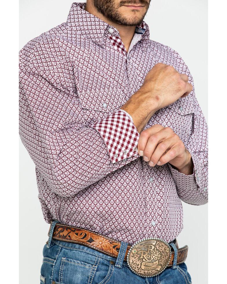 George Strait By Wrangler Men's Floral Geo Print Long Sleeve Western Shirt , Burgundy, hi-res