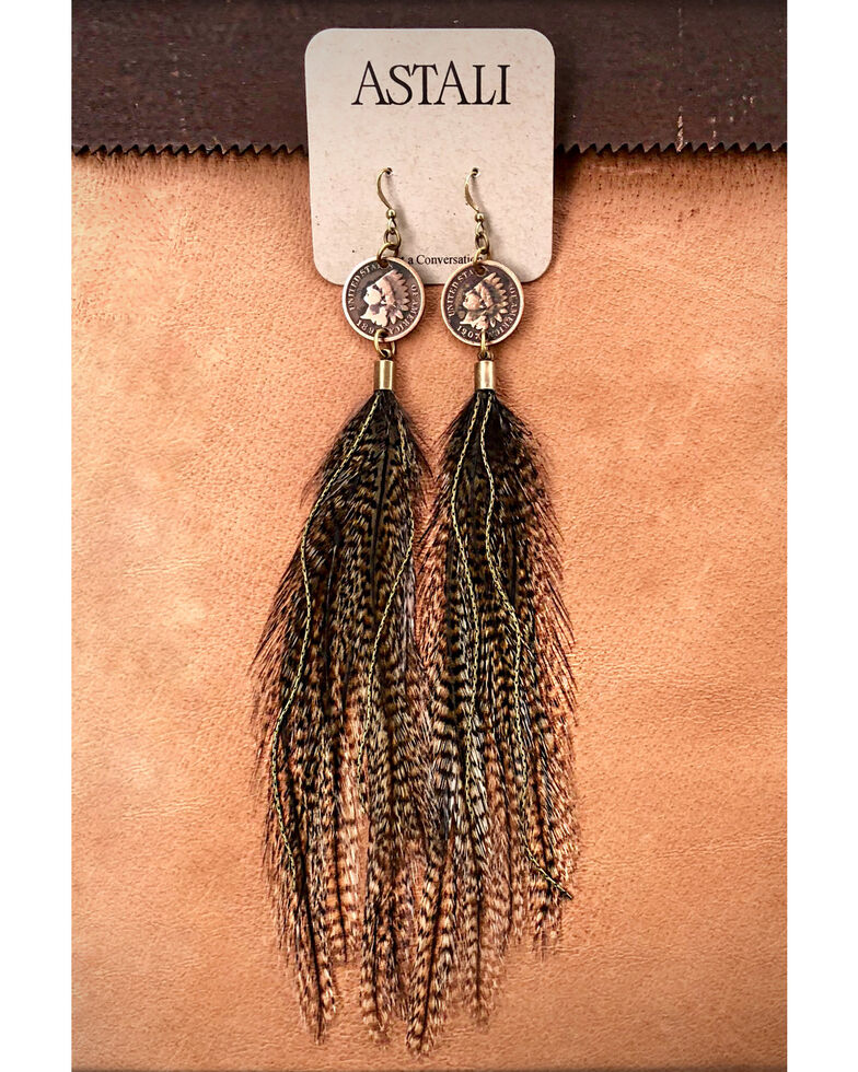 Astali Women's Indian Head Cent & Feather Earrings, Bronze, hi-res