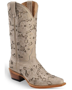 Shyanne Women's White Laser Cut Western Boots - Snip Toe, White, hi-res