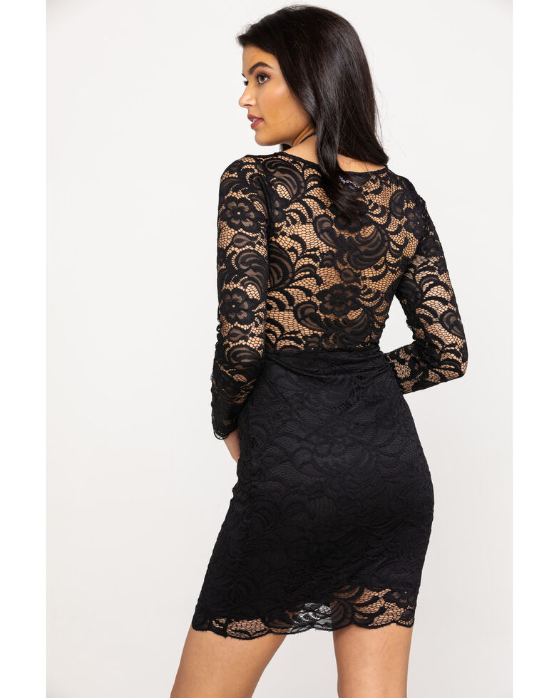 Red Label by Panhandle Women's Black Lace Dress, Black, hi-res