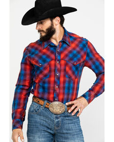 Rock & Roll Cowboy Men's Brushed Twill Plaid Long Sleeve Western Shirt , Red, hi-res